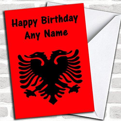 Albanese Vlag Albanië Aangepaste Verjaardag Groeten Kaart- Verjaardagskaarten/Landen & Plaatsen Kaarten