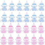 XZPP Biberon Portaconfetti Caramella, 24pz Bambino Regalo Nascita Vasetto Baby Shower Bottiglia per Battesimo Mettere Caramelle Favori di Nozze Bambina Maschio Festa Decorazione(12pz Rosa&12pz Blu)