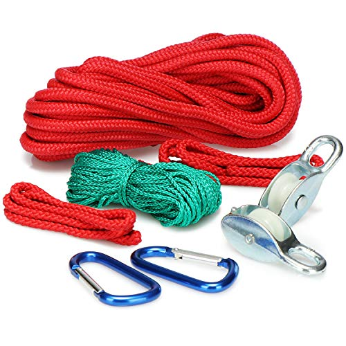 COM-FOUR® 8-czesciowy zestaw kolejek, mini kolejka, poziomy wciagnik linowy, zabawki ogrodowe dla dzieci, idealne do laczenia domków na drzewie