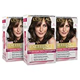 L'Oréal Paris Tinta Capelli Excellence, Copre Il 100% dei Capelli Bianchi, a Lunga Durata, 4 Castano, Confezione da 3
