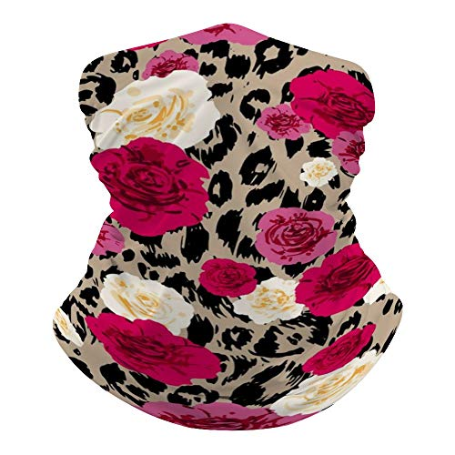Dust-Free Bandanas Face Mask. Neck Warmer for UV Protection Running Motorcycling, Lightweight Face Scarf Headwrap Cheetah Leopard Print Floral Beanie Cap for Men Women