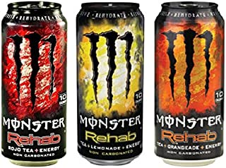 Monster Rehab Energy Drink Bundle of 12/15.5 Oz Cans: 4 Tea + Lemonade, 4 Rojo Tea, 4 Orangeade