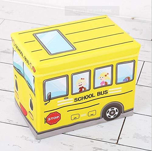Caja de almacenamiento en forma de autobús para juguetes Clohtes para niños Organizador de juguetes Plegable de dibujos animados para automóviles Cesta de almacenamiento de juguetes Papelera de almacenamiento para niños-06_talla única