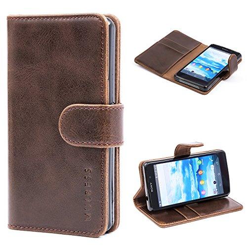 Mulbess Handyhülle für Sony Xperia Z1 Compact Hülle Leder, Sony Xperia Z1 Compact Klapphülle, Sony Xperia Z1 Compact Handy Hülle, Schutzhülle für Sony Xperia Z1 Compact Tasche Flip Etui, Coffee Braun