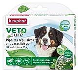 BEAPHAR – VETOPURE – Pipettes répulsives antiparasitaires pour grand chien (30kg) – Aux extraits de Margosa & de Pyrèthre – Contre les puces, tiques et moustiques – Protection 3 mois – 3 pipettes