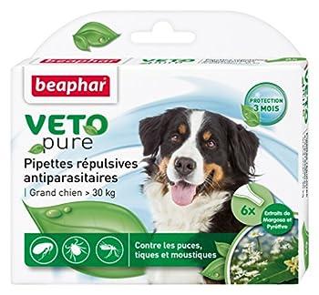 Beaphar - VETOpure, pipettes répulsives antiparasitaires - grand chien (30 kg<) - 6 pipettes