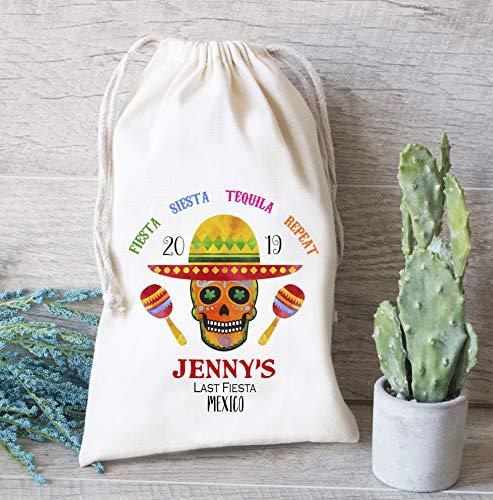 Bolsas de regalo de la última fiesta de México para despedida de soltera, bolsas de cordón personalizadas con diseño de calavera Maracas Oh Shit Kit