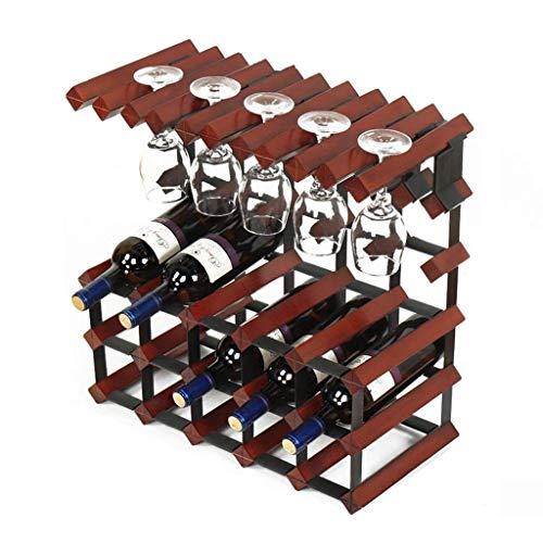Muebles para el hogar Organización de almacenamiento de cocina Botella de vino independiente de 3 niveles Barril de madera 15 botellas para colgar 10 copas de vino Soporte para estante de vino Gabi