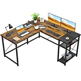 Foxemart L-Shaped Computer Desk, Industrial Corner Desk Writing Study Table with Storage Shelves, Space-Saving, Large Gaming Desk 2 Person Table for Home Office Workstation, Rustic Brown/Black