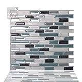 Tic Tac Tiles Pelar antimoho e insertar azulejo de la pared en Como Marrone 10 10' x 10' Mármol marrón; Beige de perlas de luz; Mármol marfil claro; metálica de bronce