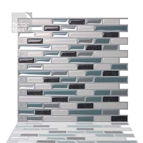 Tic Tac Tiles Pelar antimoho e insertar azulejo de la pared en Como Marrone 10 10
