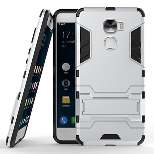 LeEco Le Pro 3 Hülle, 2 in 1 Hybrid Hülle Heavy Duty Rugged Hard Hülle Shock Resistant mit Standfuß Backcover Hülle Handy Schutzhülle Schale Tasche Cover für Letv LeEco Le Pro 3 / Le Pro3 X720 (Silber)