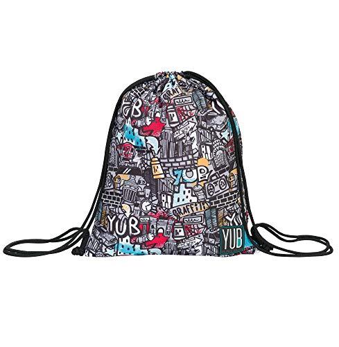 Sacca Easy Bag Yub Graffiti, Zaino Casual, Sport & tempo libero, Nero