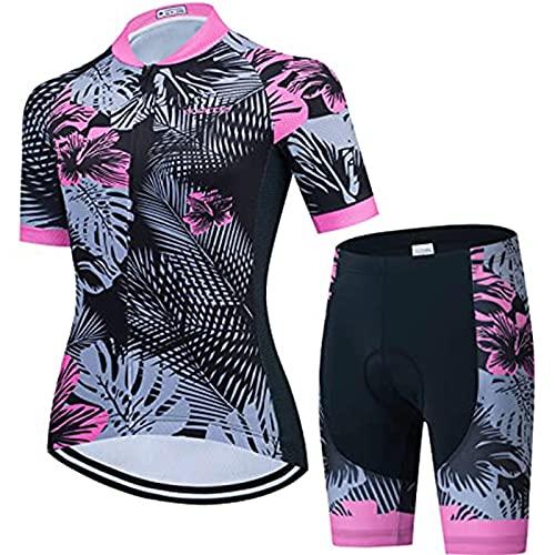 Conjunto de Maillot de Ciclismo para Mujer, Conjuntos De Jersey De Ciclismo Mujer SummerJersey Suit Ladies Top Bicycle Shorts Ropa (Color : A, Size : Medium)