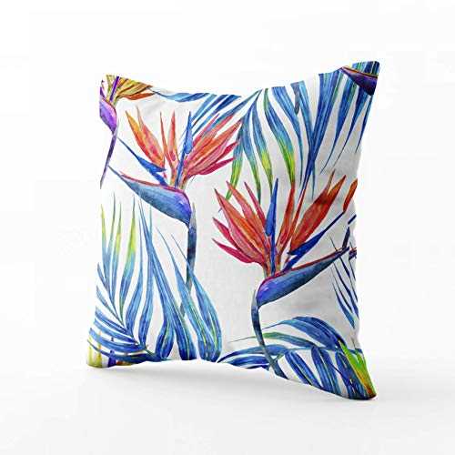 Mr.Q Couch case 22 X 22 Inch16.8 Wercol Tropical Flowers Palm Leaves Bird Paradise flo Fathers Day Throw Pillow Vintage Covers Fade Wrinkle for Girls Unisex-Children Boys Women Seniors Farmhouse Home
