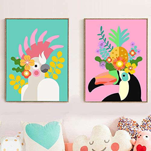 Geiqianjiumai Imagen Modular nórdica, Arte de Pared, impresión, Lienzo Floral, Mural, tucán, Estilo de Dibujos Animados, póster, Sala de Estar, Pintura sin Marco, 40X50 cm
