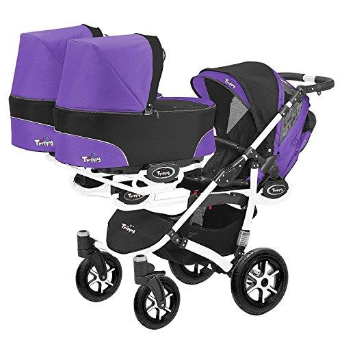 Kinderwagen für Zwillinge und älteres Kind 2 Gondeln 3 Sportsitze Trippy Kinderwagen 2in1 weißer Rahmen (schwarz lila 05)