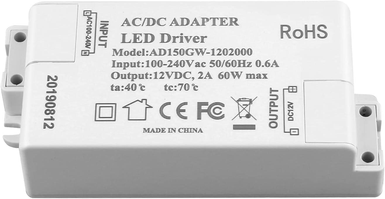 ADOGO® Fuente de alimentación LED Transformador - 60W 12V DC 5A - Voltaje constante para tiras de luces LED y bombillas LED G4, MR11, MR16