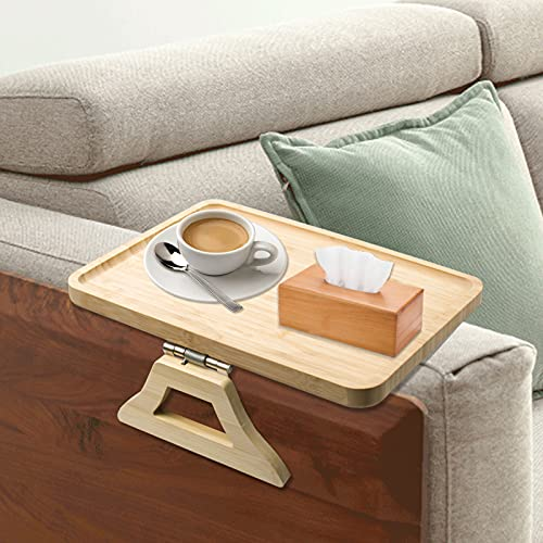 Stable Sofa Arm Clip-Tray Bamboo Table