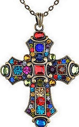 Religion Chrétienne - blondeau-bijoux.com Großes Kreuz, mittelalterlich inspiriert, mit Kristallen und Kette 1