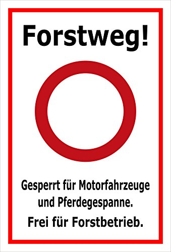 Melis Folienwerkstatt Schild Forstweg - Gesperrt - 45x30cm - Bohrlöcher - 3mm Aluverbund – 20 VAR S00359-028-B