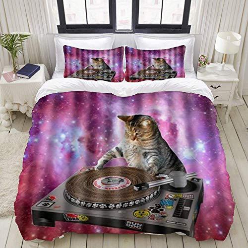 Funda nórdica, Cool Galaxy DJ Cat Funny Animal Pet Design, Juego de Ropa de Cama Juegos de Microfibra de Lujo Ultra cómodos y Ligeros (3 Piezas)
