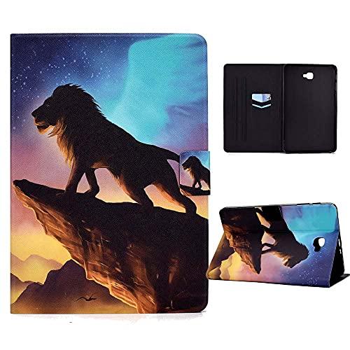 CasaFuny Funda para Samsung Galaxy Tab A 10.1'' 2016(SM-T580/T585/T587),Case Carcasa con Soporte Función y Bolsillo de Documento,Auto-Sueño/Estela para Galaxy Tab A6 2016 10.1 Pulgadas,León