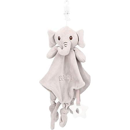 Ladieshow neonato Consolatore peluche lenitivo fazzoletto animale fazzoletto morbido asciugamano bambino coperta(Elefante grigio)
