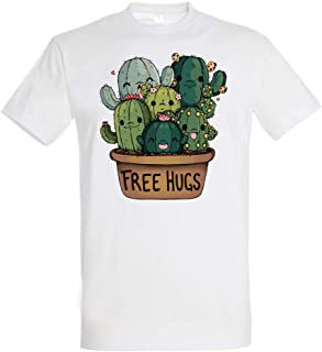 Pampling T-Shirt Soft Hugs - Maglietta Free Hugs - Cactus - Cotone 100% - Serigrafia di Alta qualità.