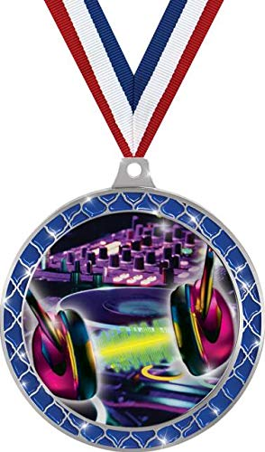 Purchase DJ Turn Tables Blue Trellis Medal Silver, 2.5 DJ Music Prizes, Kids DJ Trophy Medal Awards...