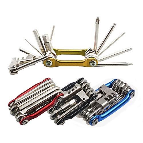 Senven 11 en 1 Multifunción Bicicleta Reparacion Herramientas, Multiusos Bici Herramientas, Mini Plegables Herramientas, Mantenimiento Herramientas Kit –– Oro
