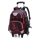 Backpack Mochila para Niños Mochila con Ruedas Mochila Escolar para Niños Mochila Primaria con Ruedas para Niños De 8-12 Años Black- 6 Wheels