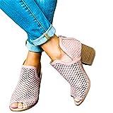 2019 Sandalias Romanas Para Mujer, Botines De Tacón Alto Ancho De Vestir Hollow Zapato Solo Peep-Toe De Boda Fiesta Con Cremallera Zapatillas De Verano Primavera Mocasines(Rosa, 39)