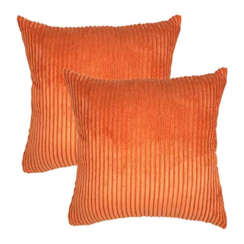 Cobeky Pack de 2 fundas de almohada cuadradas de terciopelo suave a rayas de pana 45,7 x 45,7 cm, color naranja