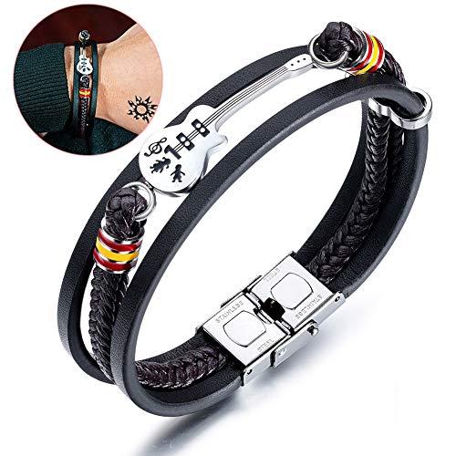 Herewegoo Mannen Vrouwen Gitaar Armband Mini Gitaar Wrap Polsband Lederen Gevlochten Touw Creatieve Multi Layer Bangle Punk Sieraden Geschenken