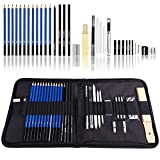 Love Art 33 Piece Professional Art Kit-Sketching Drawing Pencil Set in Zippered Travel Case-Charcoal Pencil, Graphite Pencil, Eraser, Charcoal Stick-Sketching Pencil Kit for Adult,Artists,Beginner