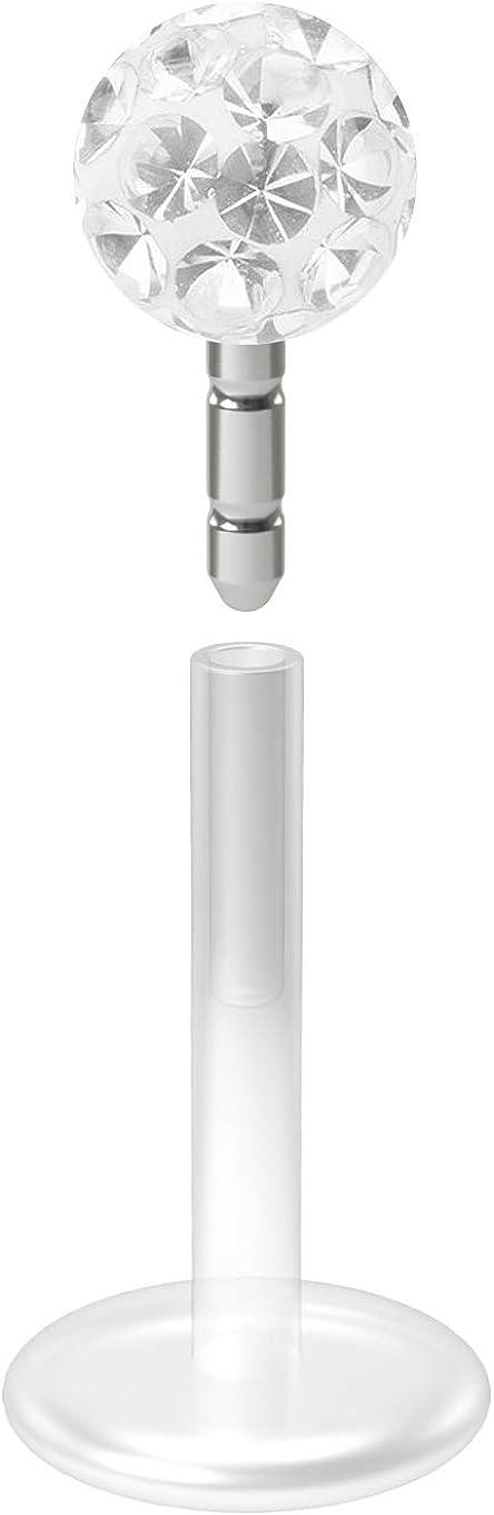 16g Bioflex Lip Stud Labret Piercing Jewelry Women Men with Ferido Epoxy Crystal Glitter 4mm Ball
