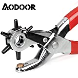 Aodoor Hole Punch Revolving Leather Punch, Heavy Duty 6 Hole Sizes Punch Plier Hand Tool for Leather Belt