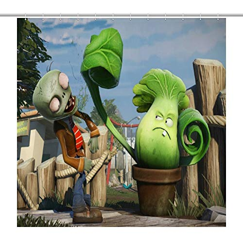 LEWIS CONNOLLY Plants Vs Zombies Chinese Cabbage Vs Zombies Anime 3D Printed Waterproof Shower Curtain Bathroom Decor Set,Polyester Fabric Machine Washable Waterproof Shower Curtains 72 x 72 Inch