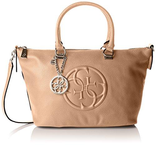 Guess Damen Korry Crush Satchel handtaschen, Braun (Camel), One Size