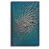 YaSheng Art - Contemporary Art Oil Painting on Canvas 3D Metallic Blue and Silver Texture Abstract Art Pictures Canvas Wall Art Paintings Modern Home Decor Abstract Paintings Ready to hang24x36inch