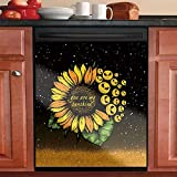 Jack Skull Dishwasher Sticker Cover,Sunflower Refrigerator Sticker -You Are My Sunshine Dish Washer Panel Decal Cover for Home Decor, Kitchen Decorative Dishwasher Door Cover Sheet 23'Wx17'H