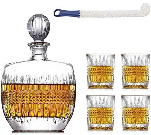 DBWIN Juego de jarras de Whisky de Vidrio, Jarra de Cristal Transparente sin Plomo Personalizada con Vasos de Whisky para Jarra de Tequila de Ron escocés, Vodka y borbón