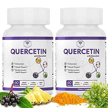 Quercetin with Bromelain Quercetin 500mg Immune Support Supplement w Sea Moss Elderberry Turmeric Echinacea Anti-inflammatory Vitamin Supplement Supports Cardiovascular Health 120 Capsules