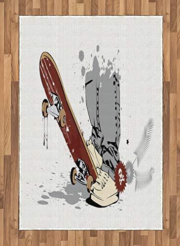 ABAKUHAUS Sala De Adolescentes Alfombra de Área, Skate Y Zapatillas De Deporte, Tejido Durable Decoración para Cualquier Ambiente, 120 x 180 cm, Gris Crema Marrón Castaño