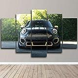 BURY Abstracto Cuadros Modernos Impresión De Imagen Artística Digitalizada | Lienzo Decorativo Salón Dormitorio |Coche Mini Cooper PeformanceCuadro 5 Piezas XXL 100X55