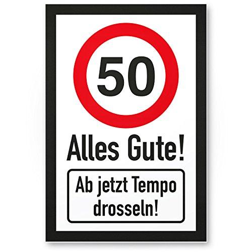 DankeDir! 50 Tempo Drosseln, Kunststoff Schild - Alles Gute, Geschenk 50. Geburtstag, Geschenkidee Geburtstagsgeschenk Fünzigsten, Geburtstagsdeko/Partydeko/Party Zubehör/Geburtstagskarte