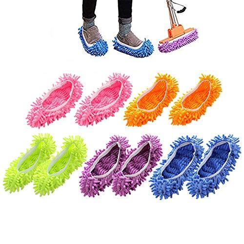 MUXItrade 5 Paare Staubmopp Wischmop Bodenreiniger Hausschuhe Schuhreinigung Komfortable waschbar, Polieren Staubwischen reinigen Fuß Socken Schuhe Mop Hausschuhe Multifunktion in 5 Farben