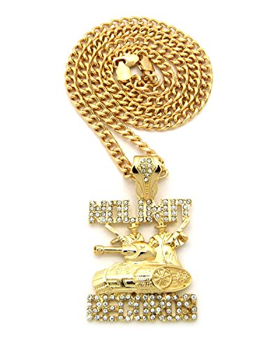 Crescendo SJ INC New ICED Out NO Limit Records Pendant &5mm/24 Cuban Chain Necklace - XZ118CCG