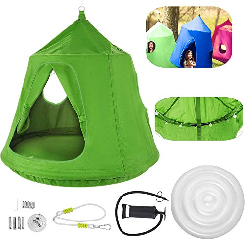 OrangeA Hanging Tree Tent Green Hanging Tree Tent for Kids 46 H x 43.4 Diam Hanging Tree House Tent Waterproof Portable Indoor or Outdoor Use with Led Decoration Lights